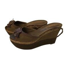 Wedge Sandals YVES SAINT LAURENT Khaki