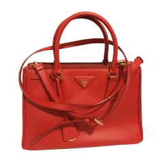 Leather Shoulder Bag PRADA Red, burgundy