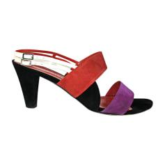 Sandales à talons SONIA RYKIEL Orange Violet et noir - crème (brides)
