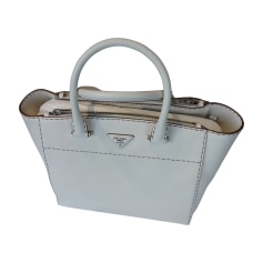 Leather Handbag PRADA White, off-white, ecru