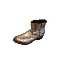 Santiags, bottines, low boots cowboy ASH Argenté, acier