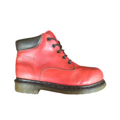 Bottines & low boots plates DR. MARTENS Bordeaux patiné graiss
