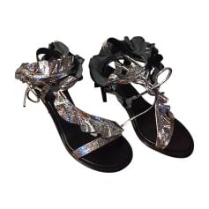 Sandali con tacchi ISABEL MARANT Argentato, acciaio