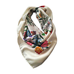 Silk Scarf GUCCI White, off-white, ecru