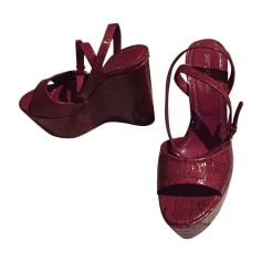 Plateausandalette SERGIO ROSSI Rot, bordeauxrot
