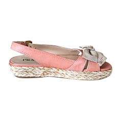 Wedge Sandals PRADA Pink, fuchsia, light pink