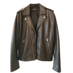 Leather Zipped Jacket THE KOOPLES Black