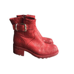 Biker Ankle Boots FREE LANCE Red, burgundy