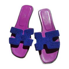 Sandales plates  HERMÈS Bleu, bleu marine, bleu turquoise