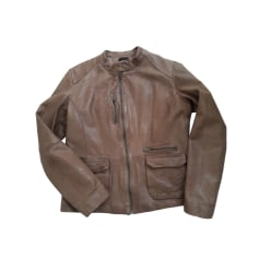 Leather Jacket IKKS Beige, camel