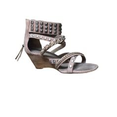 Heeled Sandals ASH Beige, camel