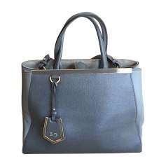 Leather Handbag FENDI 2Jours Gray, charcoal