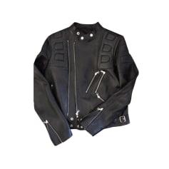 Leather Zipped Jacket SANDRO Black