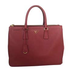 Leather Handbag PRADA Red, burgundy