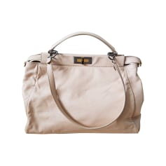Leather Oversize Bag FENDI Peekaboo Nude