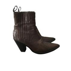Santiags, bottines, low boots cowboy SARTORE Marron