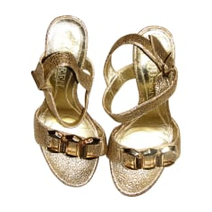 Heeled Sandals ALEXANDER MCQUEEN Golden, bronze, copper