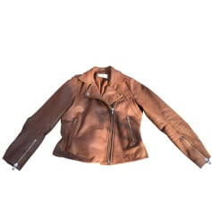 Leather Jacket SANDRO Brown