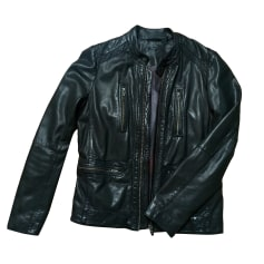 Leather Zipped Jacket IKKS Black