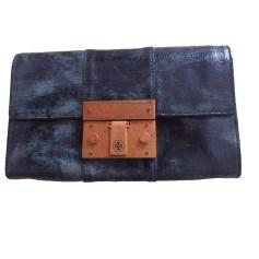Sac pochette en cuir TORY BURCH Bleu, bleu marine, bleu turquoise