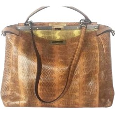 Leather Handbag FENDI Peekaboo Animal prints