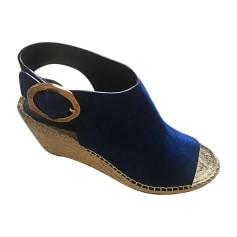 Sandali con zeppa CÉLINE Blu, blu navy, turchese