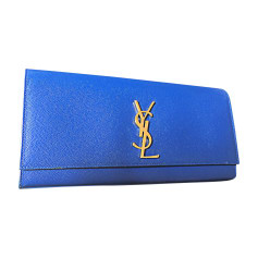 Leather Clutch YVES SAINT LAURENT Blue, navy, turquoise