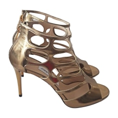 Heeled Sandals JIMMY CHOO Golden, bronze, copper