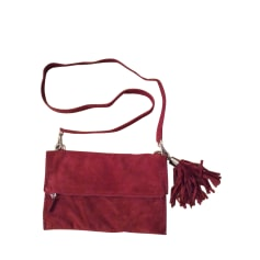 Leather Shoulder Bag IKKS Red, burgundy