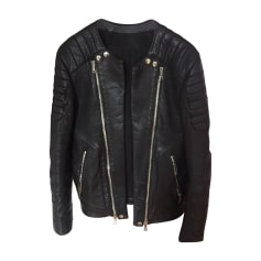 Leather Zipped Jacket BALMAIN Black