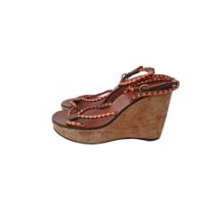 Sandales compensées MIU MIU Marron