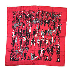 Silk Scarf HERMÈS Red, burgundy