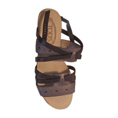 Flat Sandals TOD'S Marron et noir