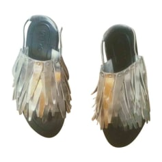 Sandales plates  KENZO Argenté, acier