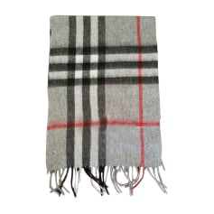 Silk Scarf BURBERRY Gray, charcoal