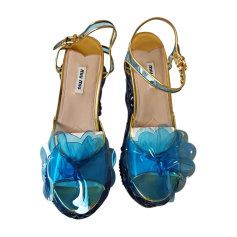 Sandales à talons MIU MIU Bleu, bleu marine, bleu turquoise