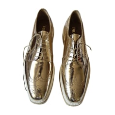 Lace Up Shoes PRADA Golden, bronze, copper