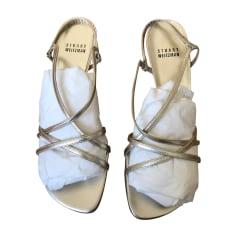 Sandales à talons STUART WEITZMAN Doré, bronze, cuivre