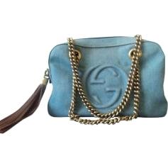 Non-Leather Handbag GUCCI Soho Blue, navy, turquoise