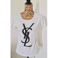 Top, tee-shirt YVES SAINT LAURENT Messenger Blanc, blanc cassé, écru