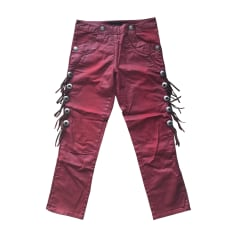 Pantalon slim, cigarette ISABEL MARANT Rouge, bordeaux