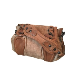Leather Shoulder Bag ABACO Beige, camel