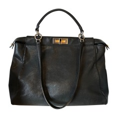 Leather Shoulder Bag FENDI Black