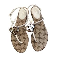 Flat Sandals GUCCI White, off-white, ecru