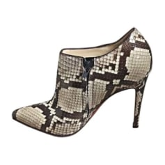 High Heel Ankle Boots CHRISTIAN LOUBOUTIN Beige et marron