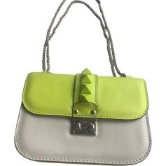 Leather Handbag VALENTINO Glam lock Yellow