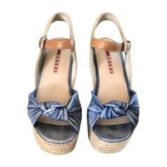 Wedge Sandals PRADA Blue, navy, turquoise