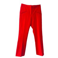 Pantalon droit SANDRO Rouge, bordeaux