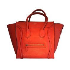 Sac à main en cuir CÉLINE Luggage Rouge vermillon