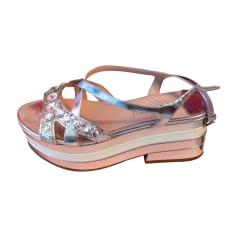 Sandales compensées MIU MIU Argenté, acier